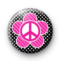 Pink and Black Peace Flower Badges