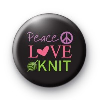 Peace Love Knit Button Badges