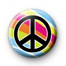 Bright Rainbow Peace Pin Badge