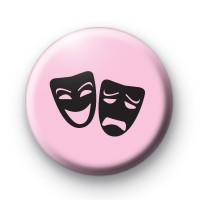 Pink and Black Happy and Sad Theatre Masks Badge