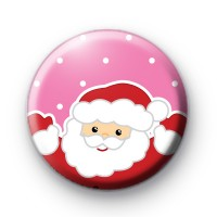 Pink Jolly Father Christmas Badge
