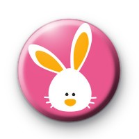 Pink and White Easter Bunny Badge