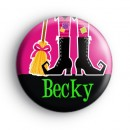 Custom Name Witch Feet Pink Badge
