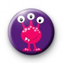 Pink Three Eyed Monster Badge
