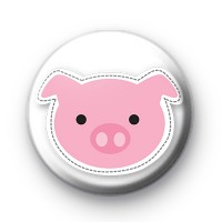 Pink Farmyard Pig Button Badge