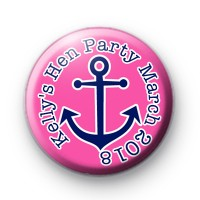 Pink and Blue Anchor Sailor Hen Party badge