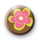 Green and Pink Floral Flower Badge