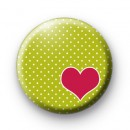 Pink and Green Love Heart Badge