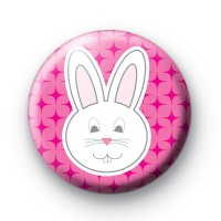 Sweet white and pink bunny badge