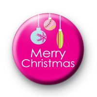 Bright Pink Merry Christmas Badge