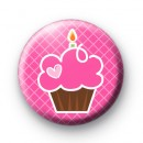 Cute Pink Birthday Cupcake badge