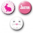 Set of 3 Pretty Pink Easter Badges