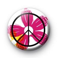 Pink Floral Peace Symbol Badge Button Badges