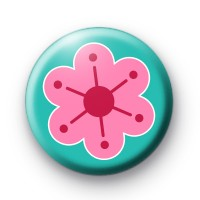 Mod Funky Pink Floral Button Badges