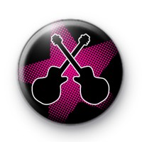 Pink Rock Guitar Star Button Badges