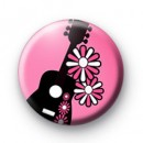 Pink Guitar and Flowers badge