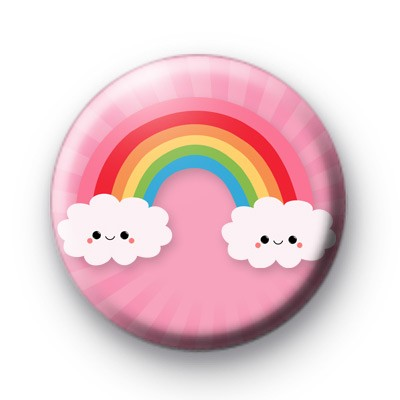 Pink Happy Clouds Button Badge
