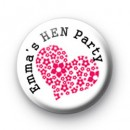 Custom Pink Heart Hen Party Badge