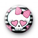 Love Heart Punk Rock Skull Badge