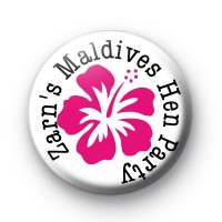 Custom Pink Hibiscus Flower Hen Party badges