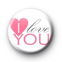 Pink I Love You Badge