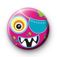 Pink One Eyed Monster Button Badges