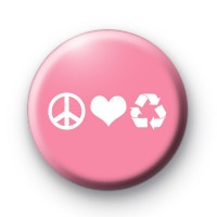 Pink Peace Love Recycle Badge