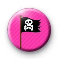 Pink and Black Pirate Flag Badge