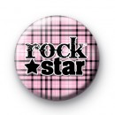 Pink Plaid Rock STAR Badge