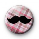 Pink Plaid Pattern Movember Tash badge
