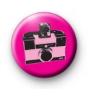 Retro Pink Classic Camera Button Badge