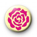 Pink Rose Stencil Button Badge