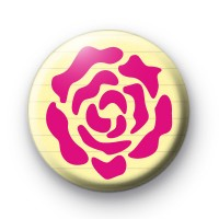 Pink Rose Stencil Button Badge thumbnail