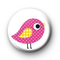 Pink Polka Dot Bird Button Badges
