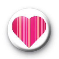 Cute Pink Stripey Love Heart Badge
