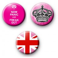 Set of 3 Pink Royal Themed Badges
