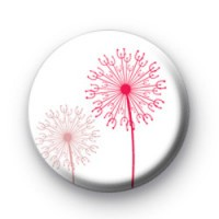 Pink Wishes Floral Button Badge