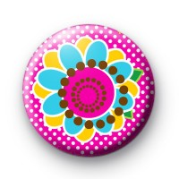 Pinky Pink Flower Button Badges