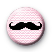 Pink Zig Zag Moustache Pin Badges