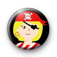 Red Pirate Girl Button Badges