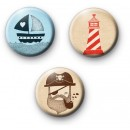 Set of 3 Seven Seas Badges