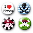 Set of 4 Pirate Button Badges
