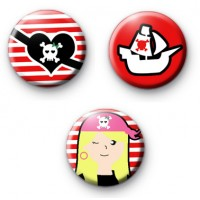 Set of 3 Pirate Princess Button Badges