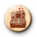 Classic Polaroid Camera Button Badge