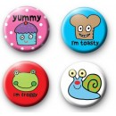 Set of 4 Pop Art Button Badge Pack