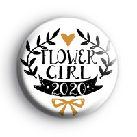 Pretty Black and Gold Flower Girl 2020 Badge