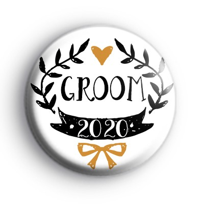 Pretty Black and Gold Groom 2020 Badge