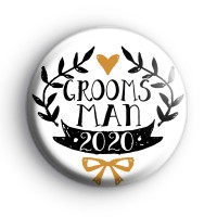 Pretty Black and Gold Groomsman 2020 Badge