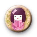 Pretty in Pink Geisha Girl Badge