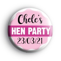 Pretty Pink Banner Hen Party Badge